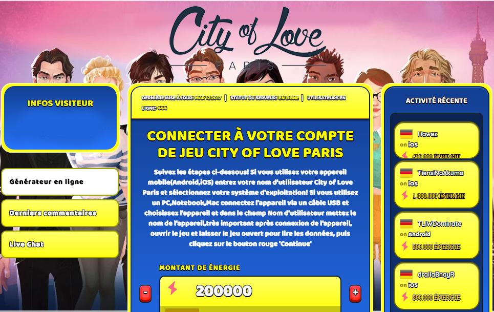 city of love paris triche astuce en ligne nergie illimite. Black Bedroom Furniture Sets. Home Design Ideas