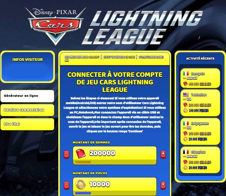 Cars Lightning League Triche Astuce Gemmes et Pieces